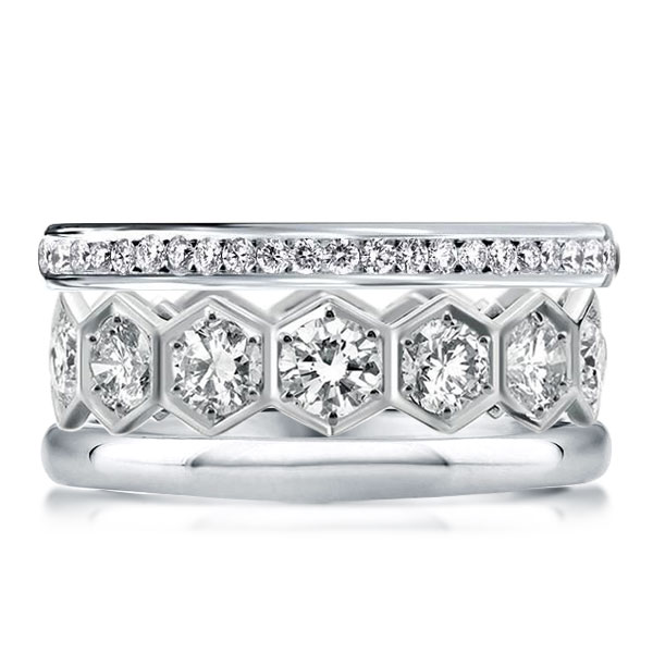 Triple Row Round Cut Stackable Band Set, White