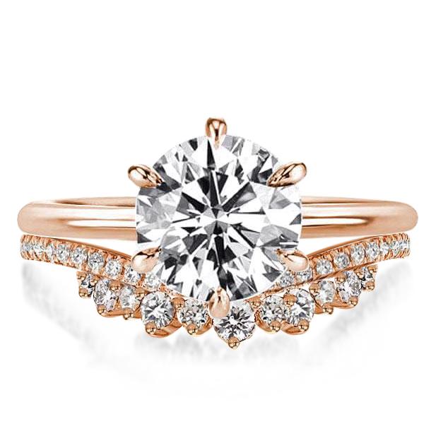Rose Gold Crown Design Chevron Round Bridal Set