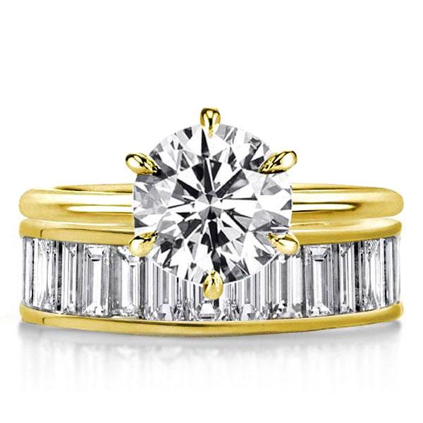 Golden Baguette & Round Cut Hidden Halo Bridal Set