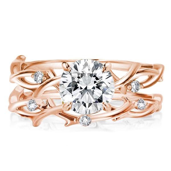 Twist Design Rose Golden Round Cut Bridal Set, White