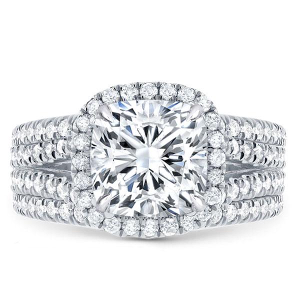Halo Cushion Split Shank White Sapphire 3PC Wedding Set