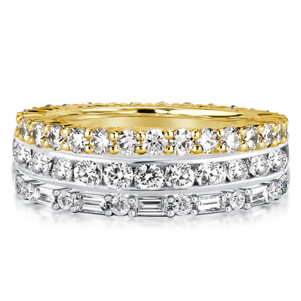 Two Tone Eternity Round & Baguette Cut Stackable Rings, White