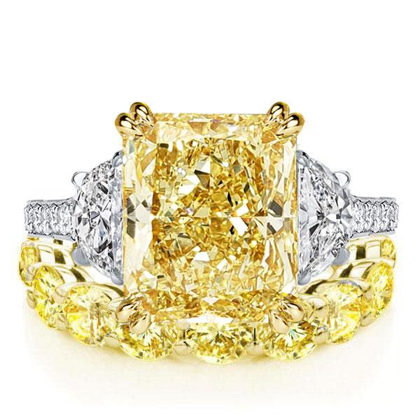 Two Tone Radiant Cut Yellow Sapphire Eternity Bridal Set, White