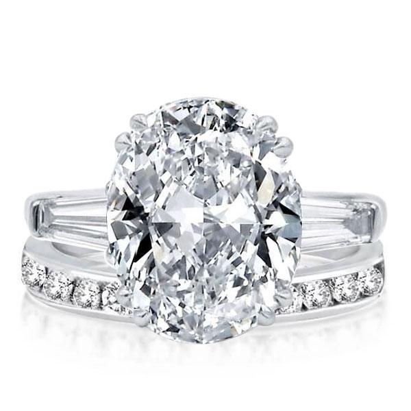 Three Stone Oval Cut Created White Sapphire Bridal Set