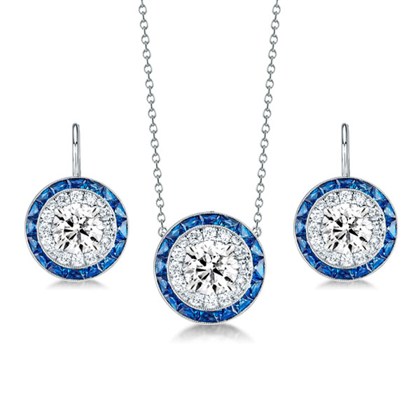 Halo Created Sapphire Pendant Necklace & Drop Earrings Set, White
