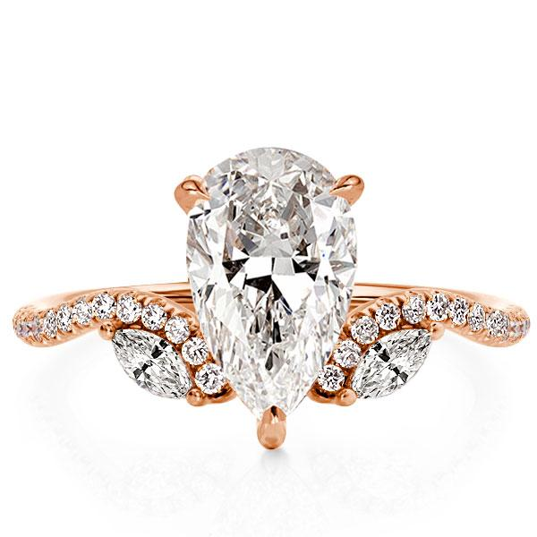 Pear Cut Chevron Rose Gold Engagement Ring (3.15 CT. TW.), White