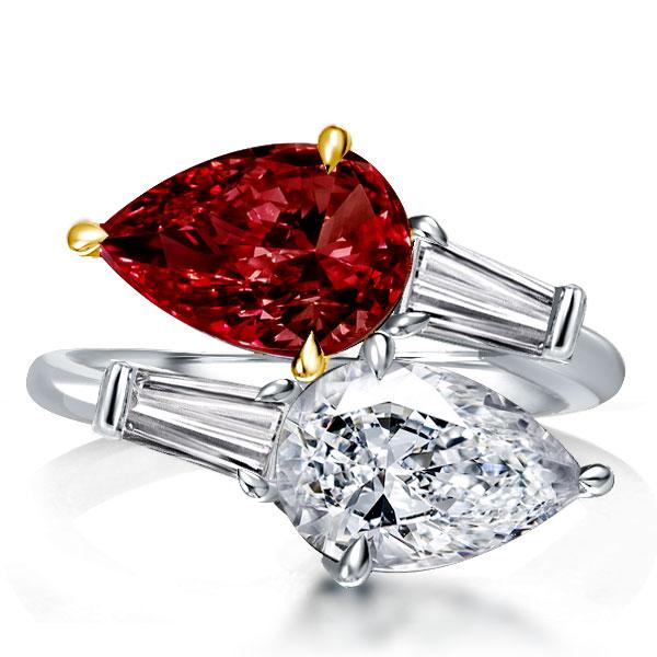 Pear Cut Twin Stone Garnet Engagement Ring