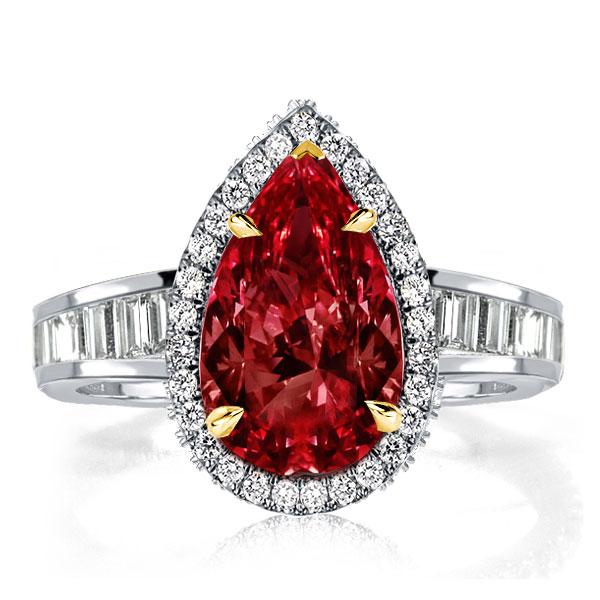 Halo Pear Cut Created Garnet Engagement Ring