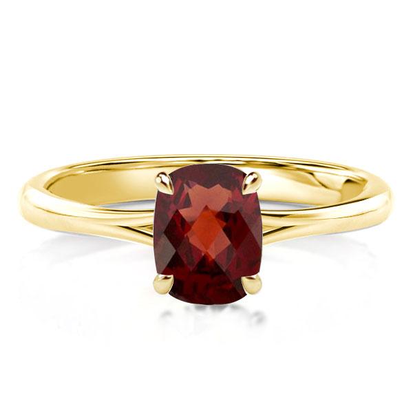 Cushion Cut Created Garnet Hidden Halo Engagement Ring
