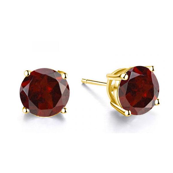 Classic 4 Prong Created Garnet Stud Earrings