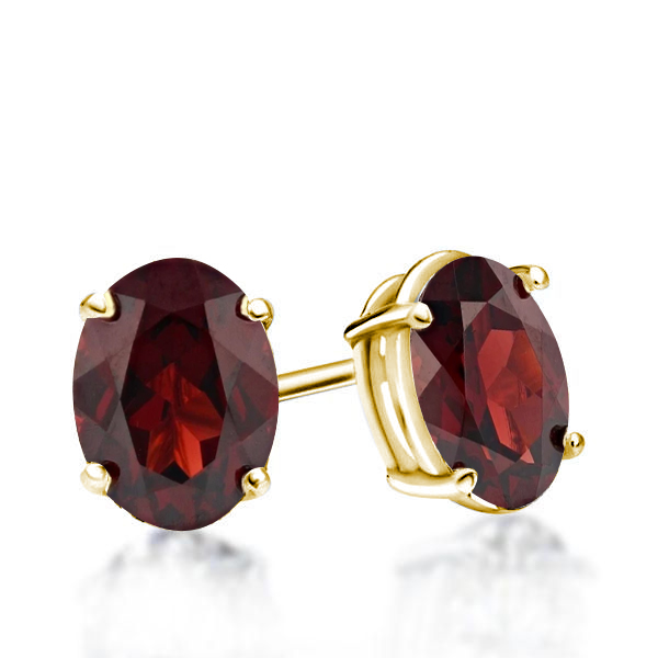 Classic Oval Created Garnet Stud Earrings