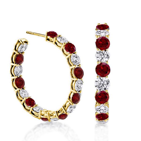 Alternating Created Garnet & White Round Cut Hoop Earrings
