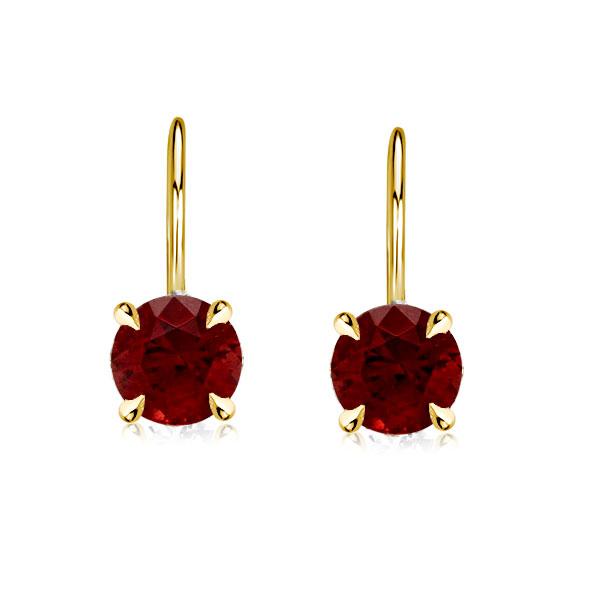 4 Prong Round Cut Created Garnet Drop Earrings