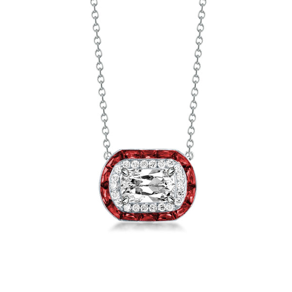 Halo Cushion Cut Created Garnet Pendant Necklace