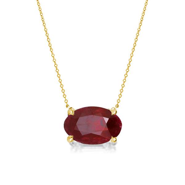 Golden Oval Cut Created Garnet Pendant Necklace