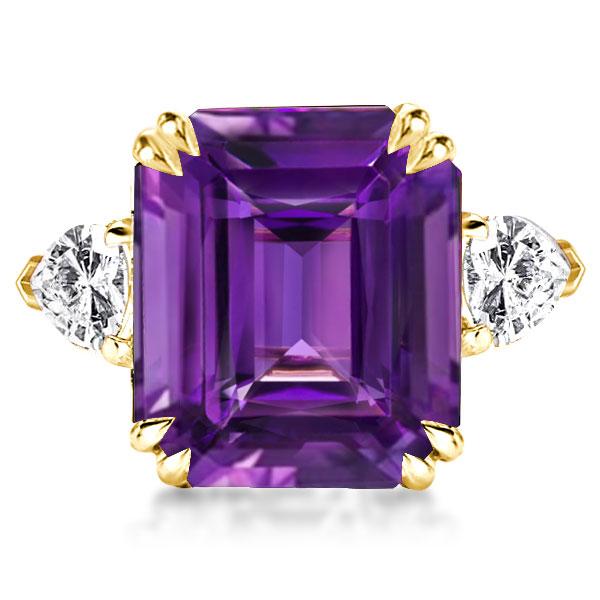 Three Stone Emerald Cut Created Amethyst Engagement Ring, White