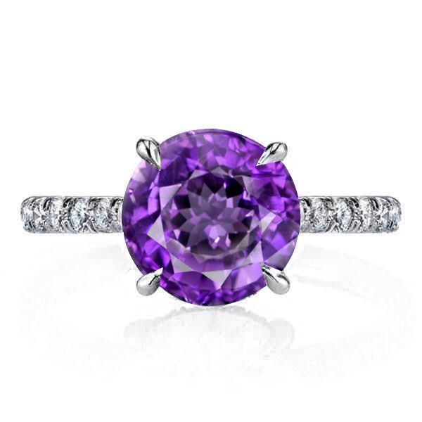 Classic 4 Prong Created Amethyst Engagement Ring