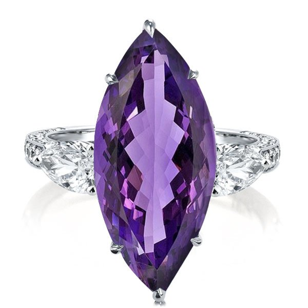 Three Stone Marquise Cut Created Amethyst Engagement Ring