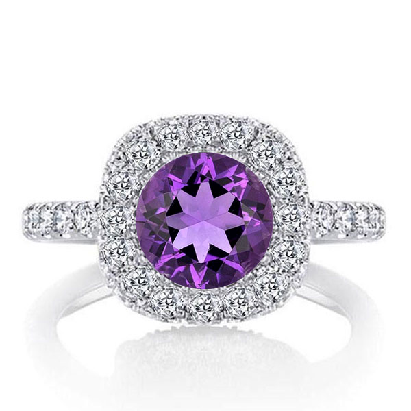Halo Round Cut Created Amethyst Engagement Ring