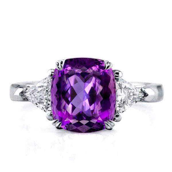 Three Stone Cushion Created Amethyst Engagement Ring