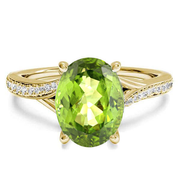 Golden Bypass Oval Created Peridot Engagement Ring
