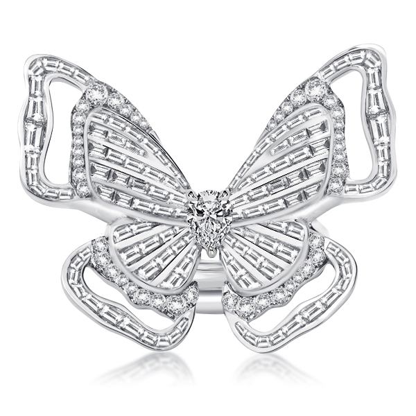 Pear & Baguette Double Butterfly Ring Set, White
