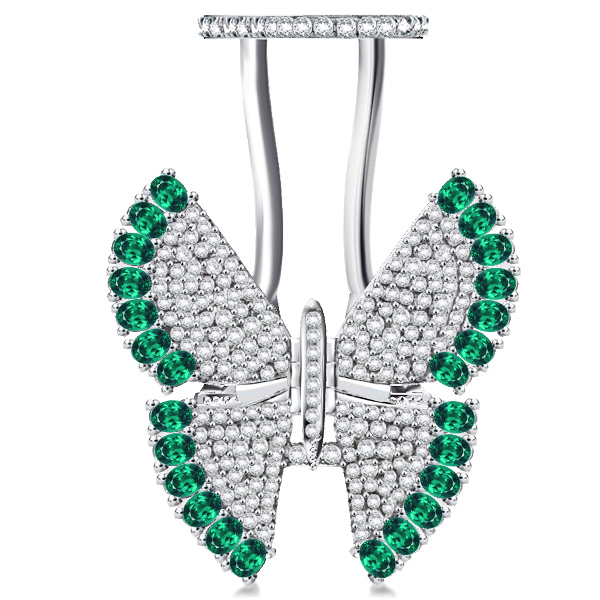 Pave Setting Created Emerald Movable Butterfly Ring, White