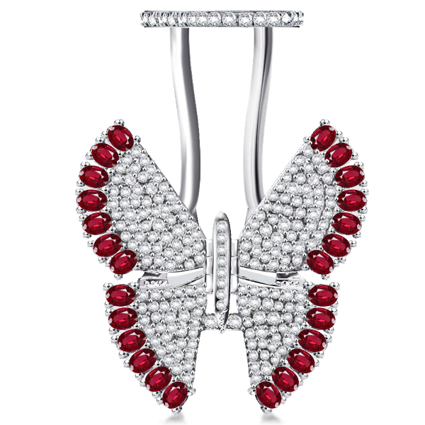 Pave Setting Ruby Movable Butterfly Ring, White