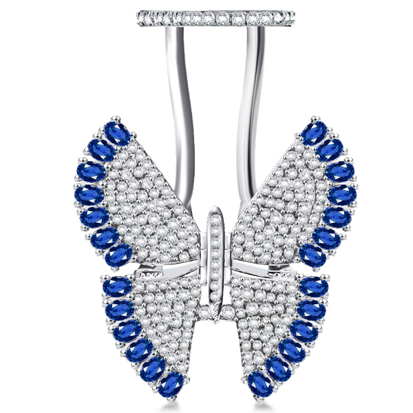 Pave Setting Created Sapphire Movable Butterfly Ring, White