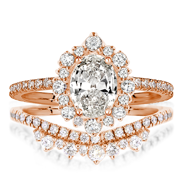 Rose Gold Halo Oval Cut Bridal Set, White