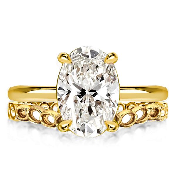 Golden Oval Cut Bridal Set, White