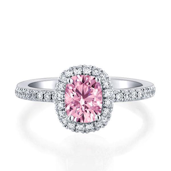 Italo Halo Cushion Created White Sapphire Engagement Ring