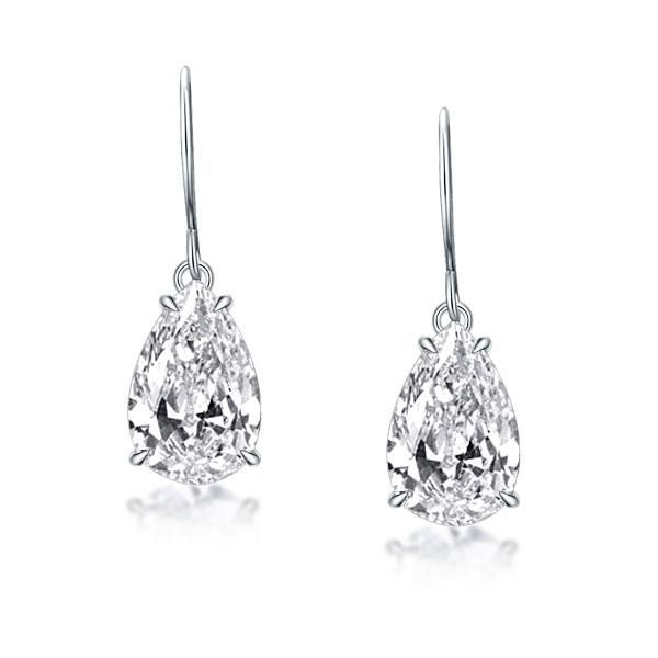 Classic Four Prong Pear Drop Earrings