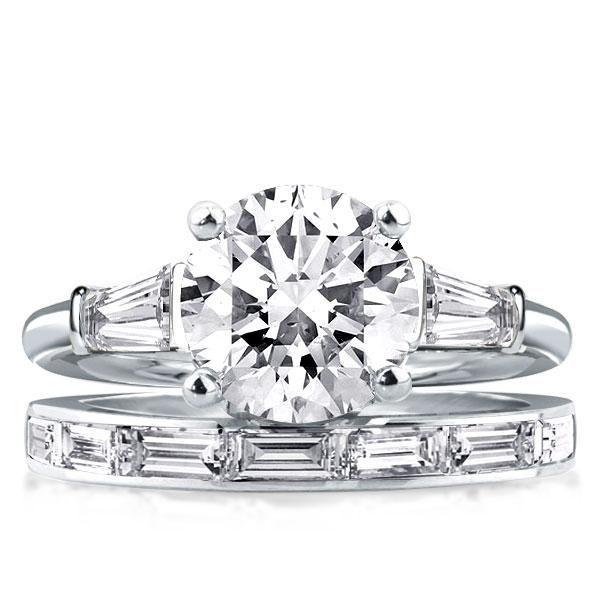 3 Stone Engagement Ring With Wedding Band