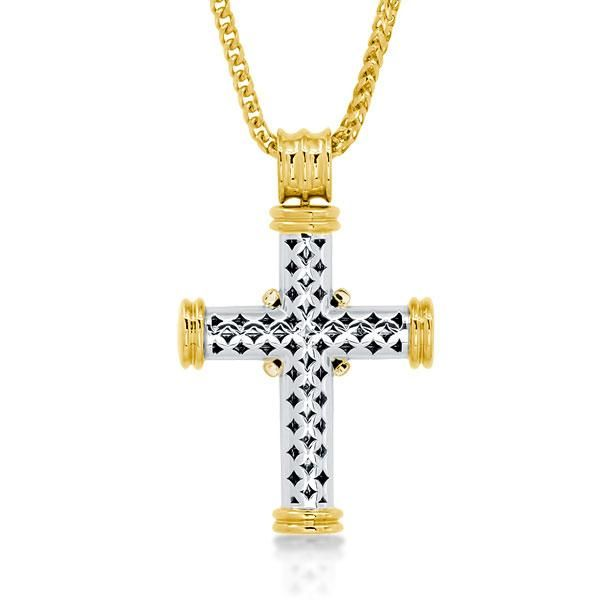 Golden Design Round Cut Cross Necklace For Women
