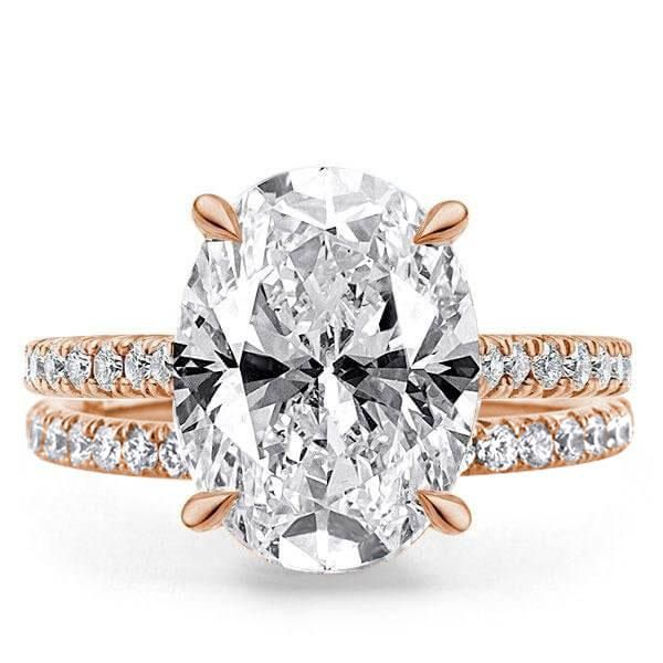 Rose Gold Oval Cut Bridal Set