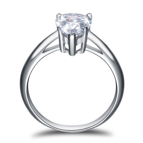 Italo Solitaire Pear Created White Sapphire Engagement Ring