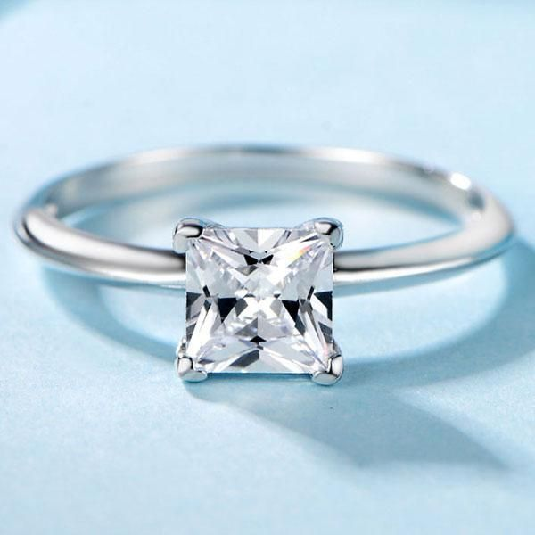 Italo Princess Solitaire Created White Sapphire Engagement Ring