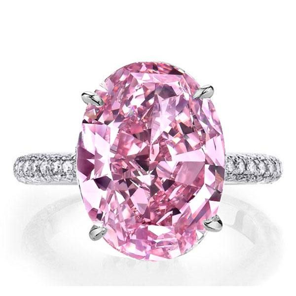Pink Engagement Rings Italo Oval Created Pink Sapphire Engagement Ring