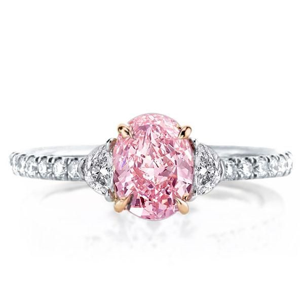Three Stone Oval Cut Pink Engagement Ring For Women