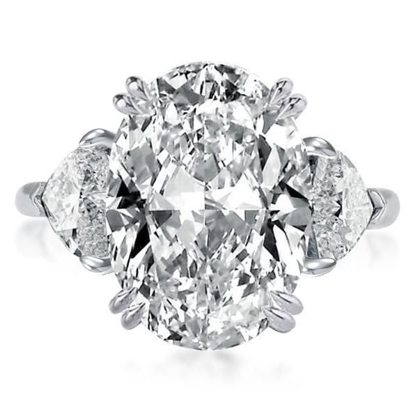 Three Stone Double Prong Oval Cut Engagement Ring
