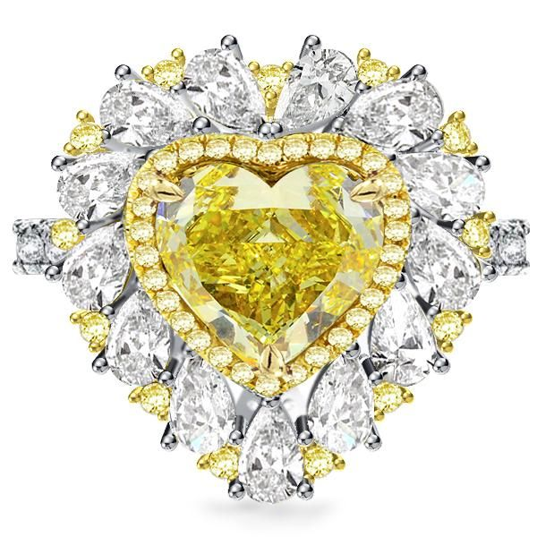 Two Tone Triple Row Yellow Heart Cut Engagement Ring