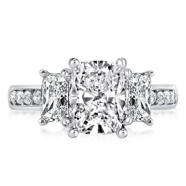 Three Stone Cushion Cut Engagement Ring