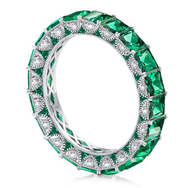 Eternity Milgrain Green Princess Wedding Band