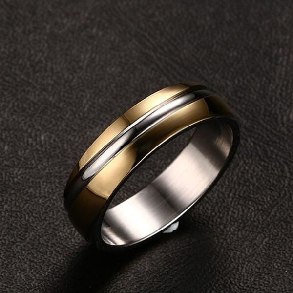 Italo Two Tone Twill Design Titanium Steel Men's Wedding Band