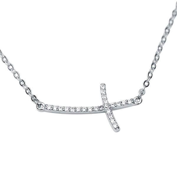 Slim Cross Design Pendant Necklace (0.36 CT. TW.)