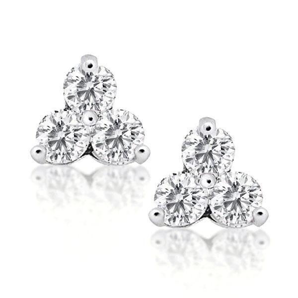 Three Stone Stud Earrings Round Cut Cool Stud Earrings