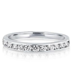 Italo Classic Created White Sapphire Wedding Band (0.45 CT. TW.)