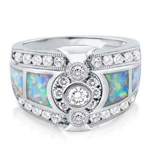 Bezel Opal Sidestone Engagement Ring