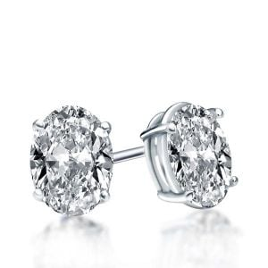 Italo Classic Oval Created White Sapphire Stud Earrings